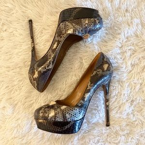 Valentino Rockstud snakeskin heels